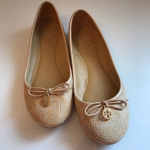 TORY BURCH CHELSEA STITCHED BALLET FLATS 5.5